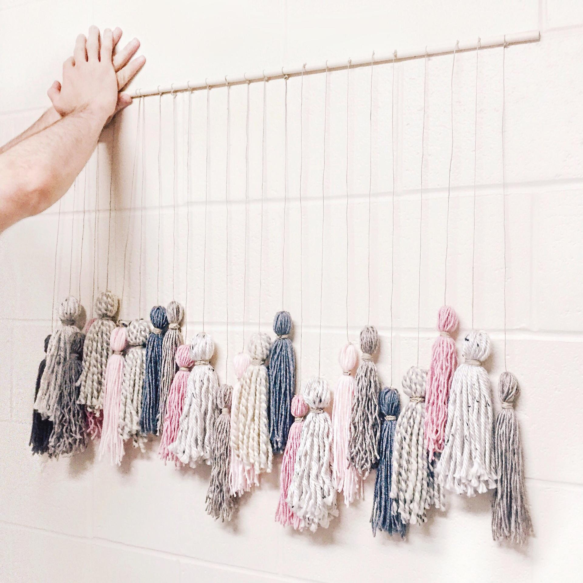 Diy tassel wall hanging abby saylor armbruster - Wall hanging ideas for bedrooms ...
