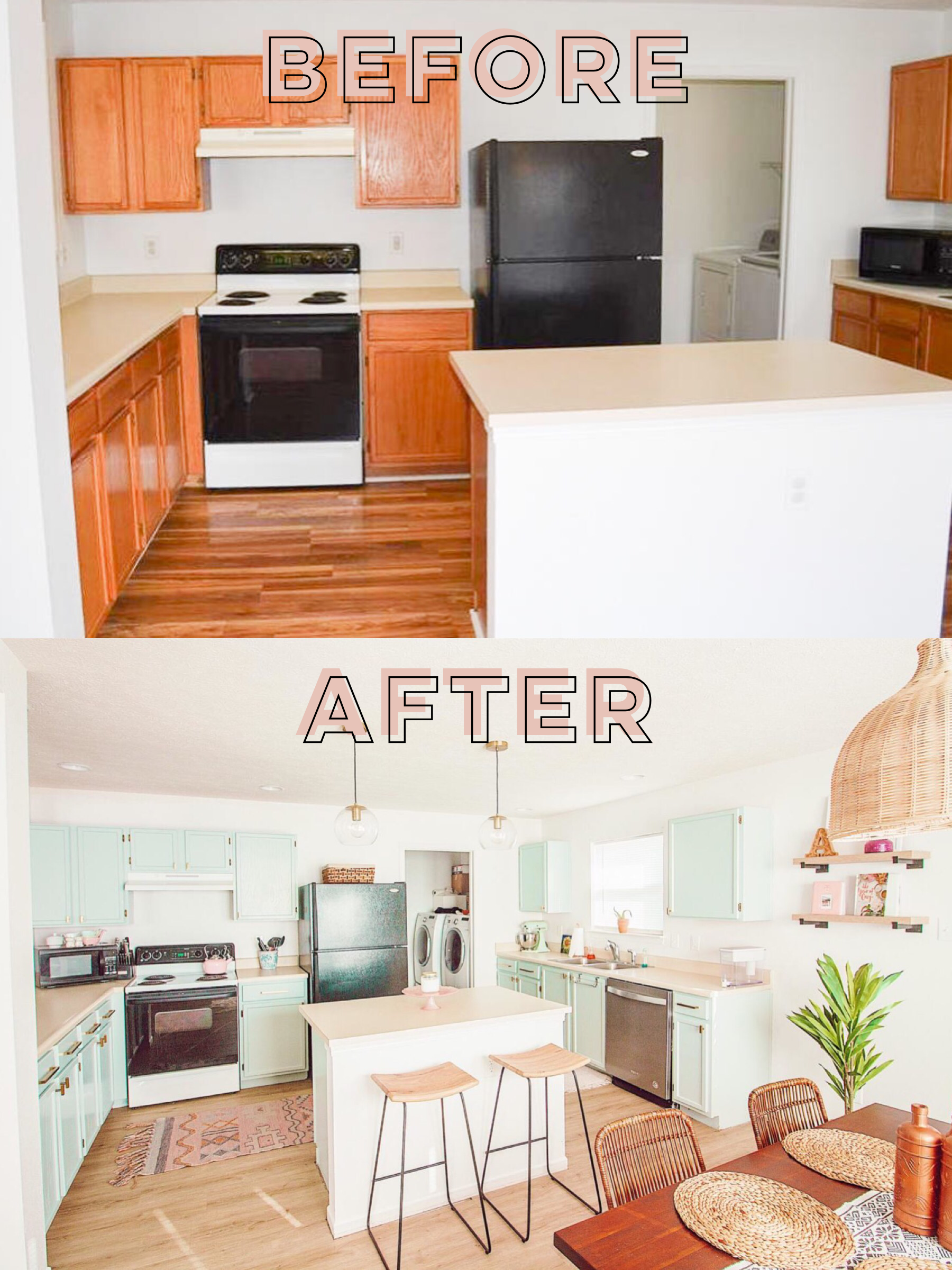 Mint Bohemian Kitchen Makeover: Before & After - Abby Saylor ...